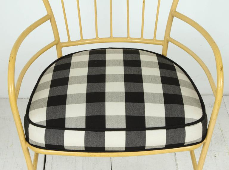 American Set of Four Yellow Metal Outdoor Chairs in Black and White Check Fabric For Sale