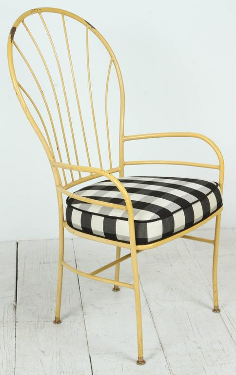 Mid-20th Century Set of Four Yellow Metal Outdoor Chairs in Black and White Check Fabric For Sale