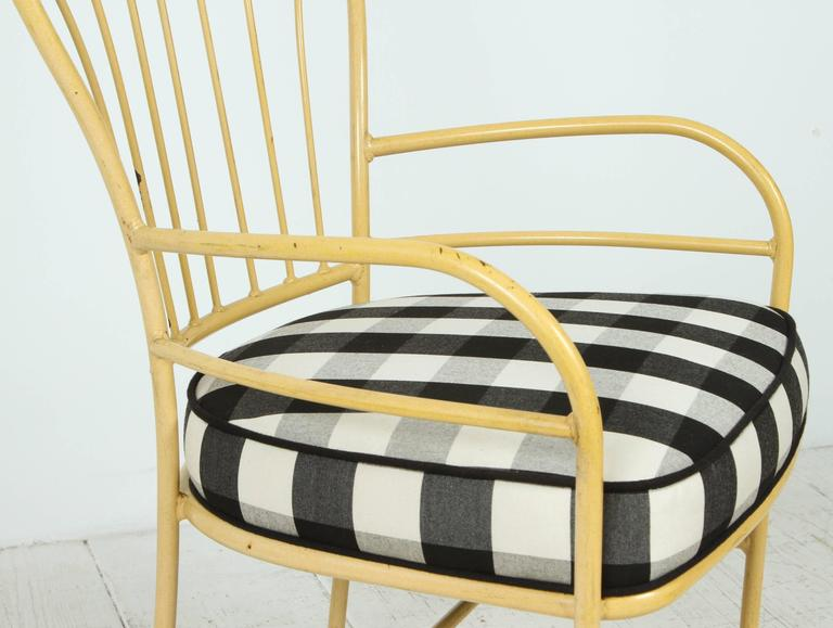 Set of Four Yellow Metal Outdoor Chairs in Black and White Check Fabric For Sale 1