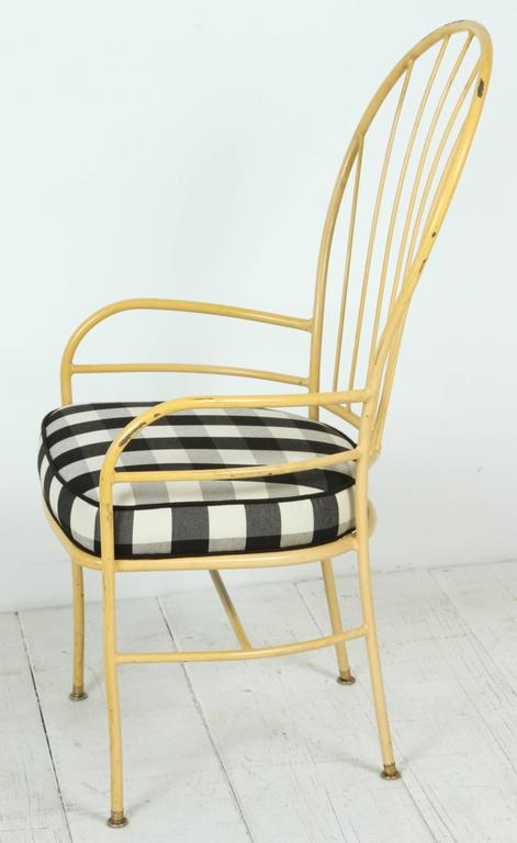 Set of Four Yellow Metal Outdoor Chairs in Black and White Check Fabric For Sale 2