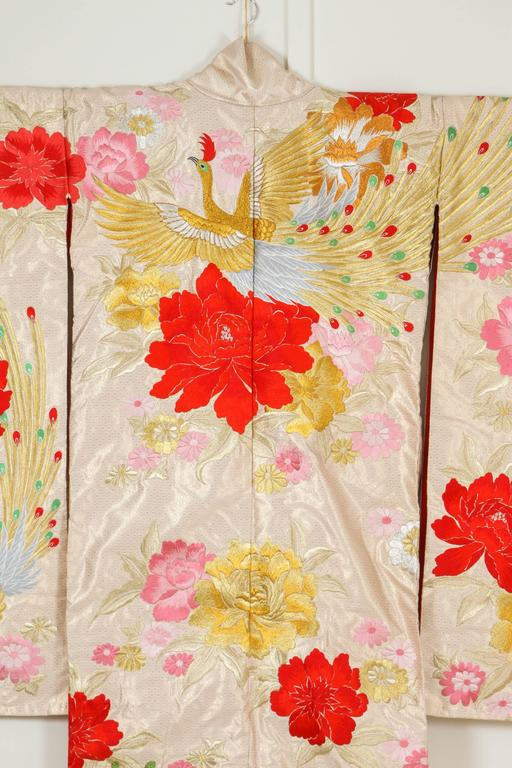Embroidered Vintage Silk Brocade Japanese Ceremonial Kimono For Sale