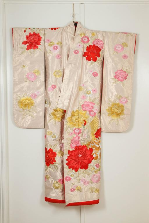 Vintage Silk Brocade Japanese Ceremonial Kimono For Sale 1