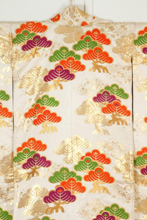 Japonisme Vintage Silk Brocade Japanese Ceremonial Kimono For Sale
