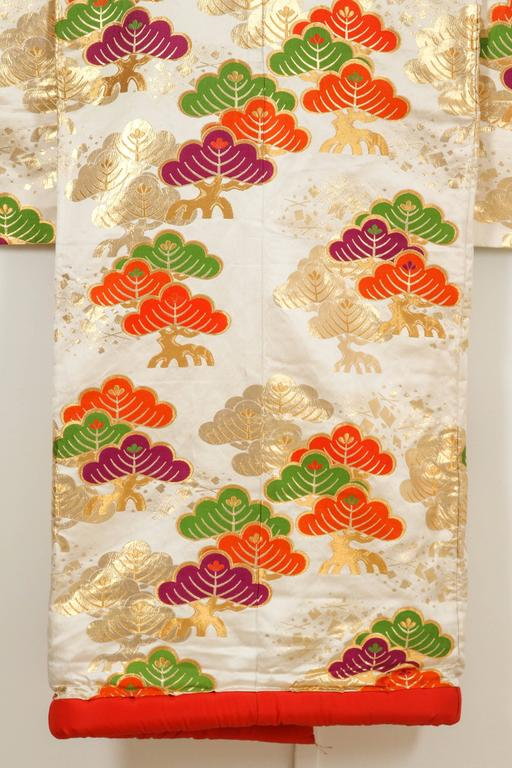 Hand-Crafted Vintage Silk Brocade Japanese Ceremonial Kimono For Sale