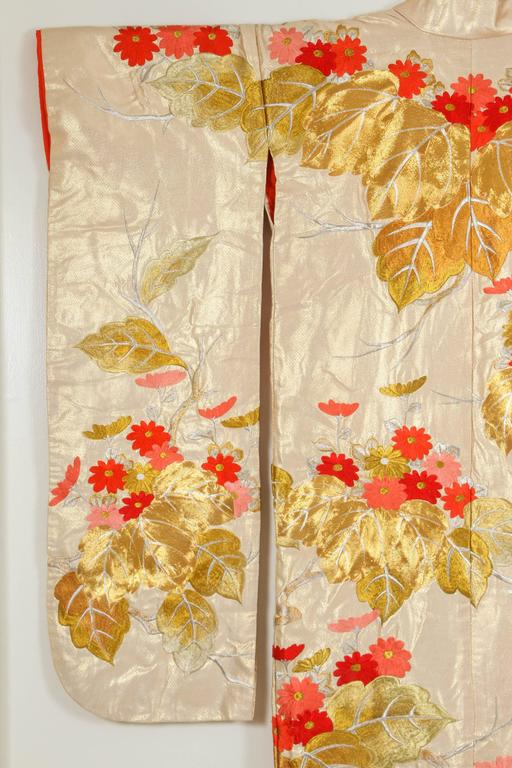 Vintage brocade Japanese ceremonial kimono a vintage Mid-Century ivory color collectable Japanese ceremonial kimono. One of a kind hand crafted . Fabulous museum quality ceremonial piece in pure silk with intricate detailed hand-embroidery
