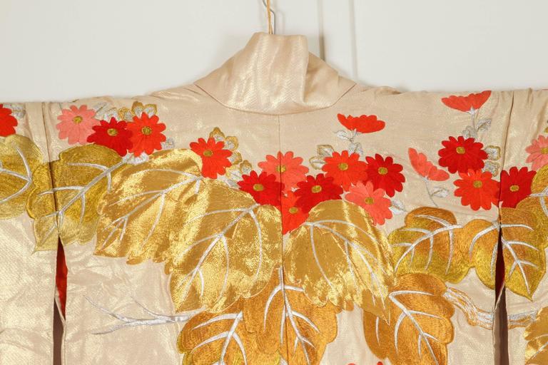 Embroidered Vintage Brocade Japanese Ceremonial Kimono For Sale