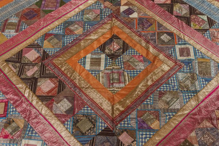 Bohemian Indian Silk Sari Tapestry Quilt Patchwork Bedcover For Sale