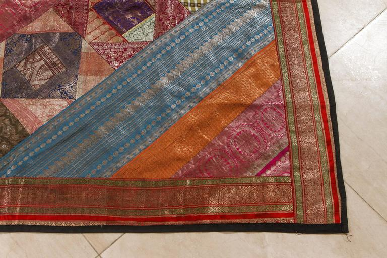 Hand-Crafted Indian Silk Sari Tapestry Quilt Patchwork Bedcover For Sale