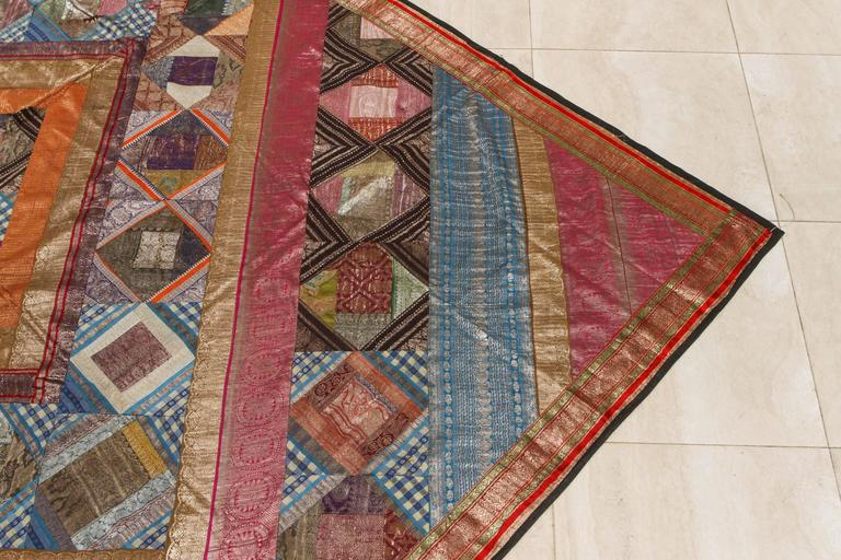 Indian Silk Sari Tapestry Quilt Patchwork Bedcover In Good Condition For Sale In Los Angeles, CA