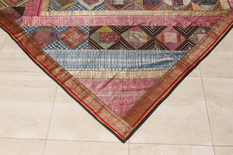 20th Century Indian Silk Sari Tapestry Quilt Patchwork Bedcover For Sale