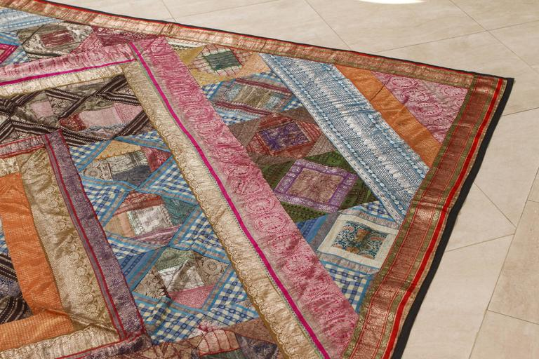 Indian Silk Sari Tapestry Quilt Patchwork Bedcover For Sale 1
