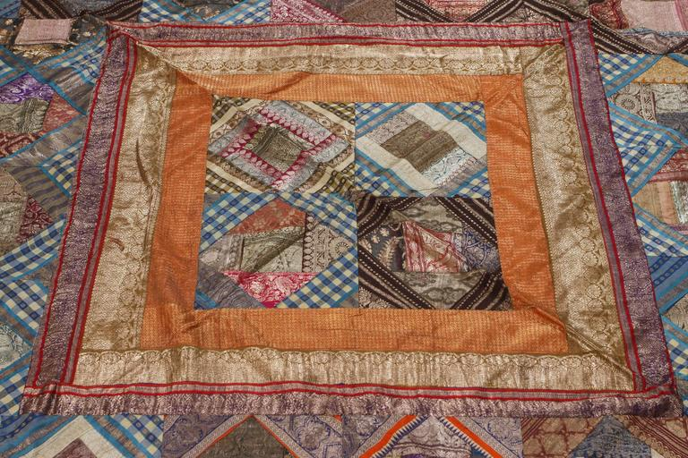Indian Silk Sari Tapestry Quilt Patchwork Bedcover For Sale 2