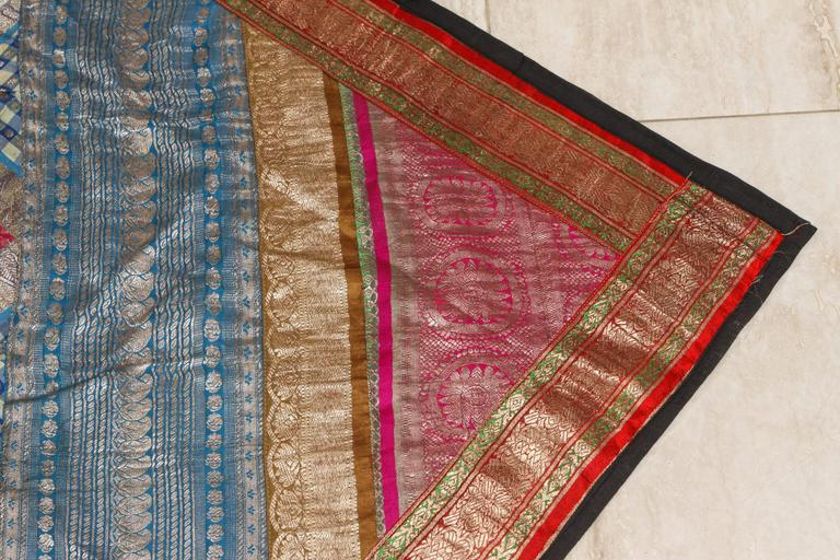 Indian Silk Sari Tapestry Quilt Patchwork Bedcover For Sale 3