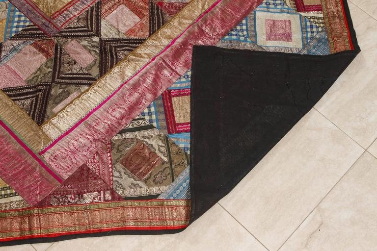 Indian Silk Sari Tapestry Quilt Patchwork Bedcover For Sale 4