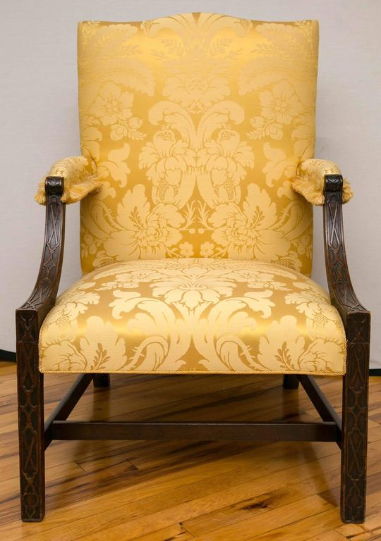 George III Georgian Mahogany Gainsborough Library Armchair For Sale