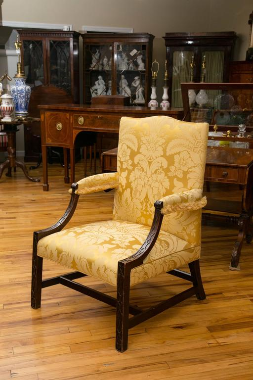 Georgian Mahogany Gainsborough Library Armchair For Sale 3