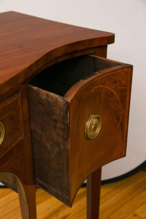 George III Mahogany Serpentine Form Sideboard For Sale 1
