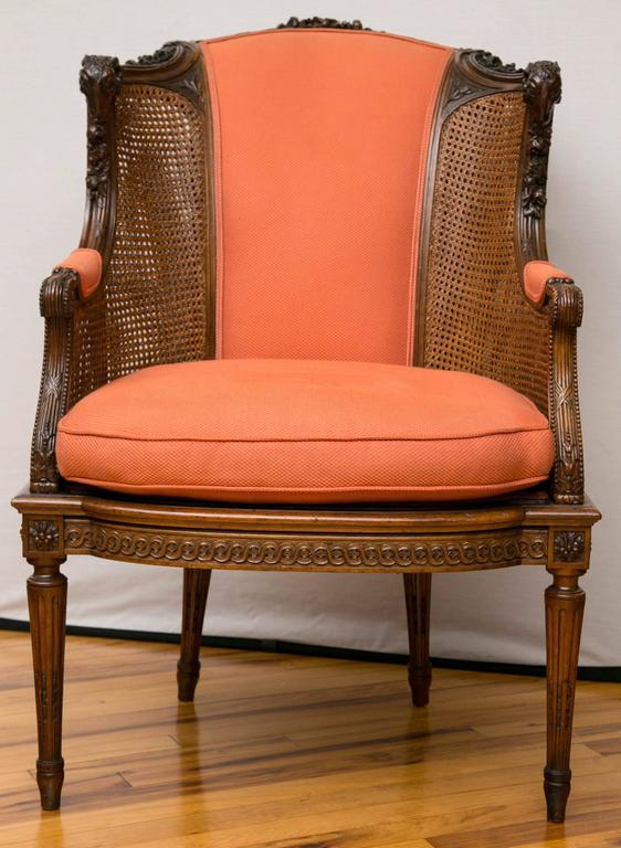 English A Late Victorian Caned Mahogany Library Chair  For Sale