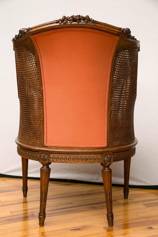 A Late Victorian Caned Mahogany Library Chair  In Excellent Condition For Sale In Mt Kisco, NY