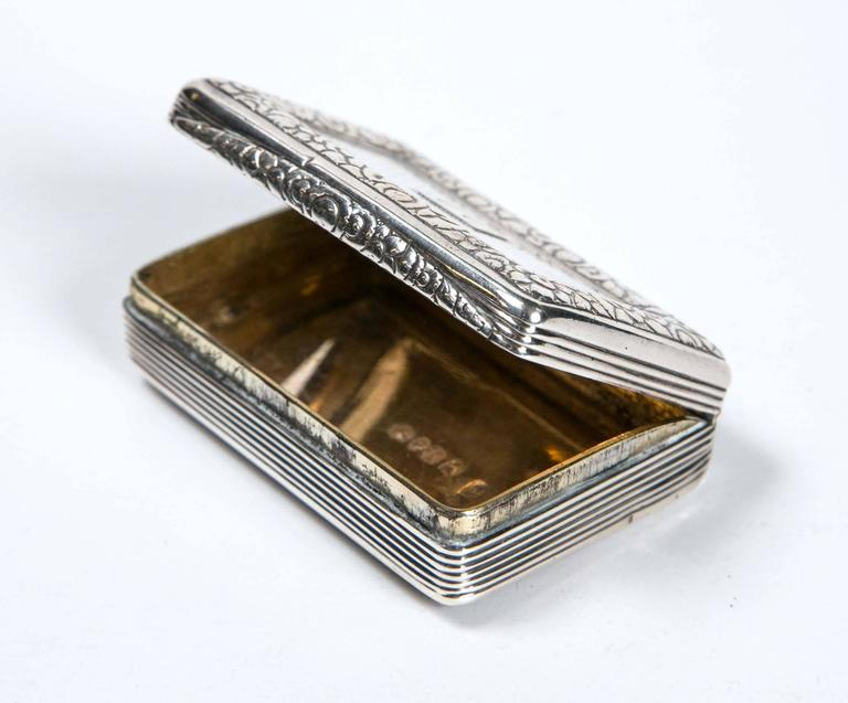Sterling silver 1824 snuff box from England. Gold wash interior. Monogrammed top (DD). Stamped by Thomas Ellis. It has charming character. Almost 200 years old!