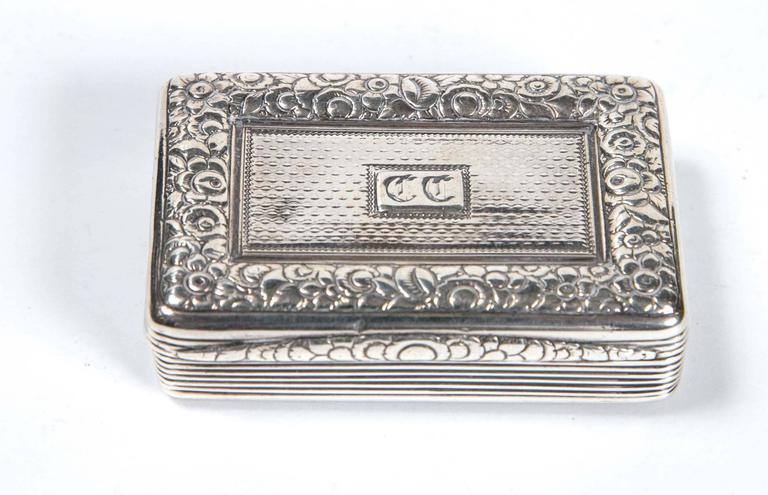Sterling Silver Snuff Box by Thomas Ellis, circa 1824, English For Sale 1