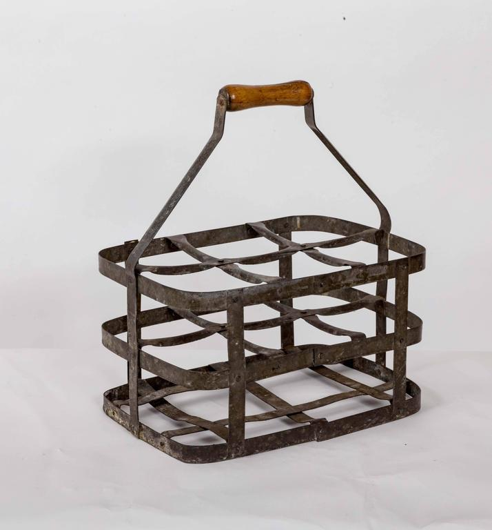 Turn-of-the-Century Metal Bottle Carrier, France, circa 1900 2