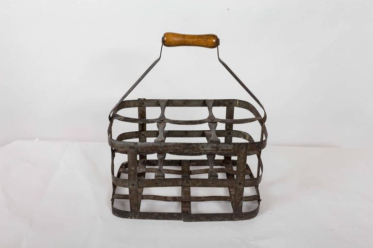 French Turn-of-the-Century Metal Bottle Carrier, France, circa 1900 For Sale