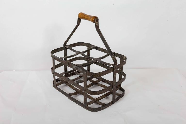 Turn-of-the-Century Metal Bottle Carrier, France, circa 1900 In Good Condition For Sale In East Hampton, NY