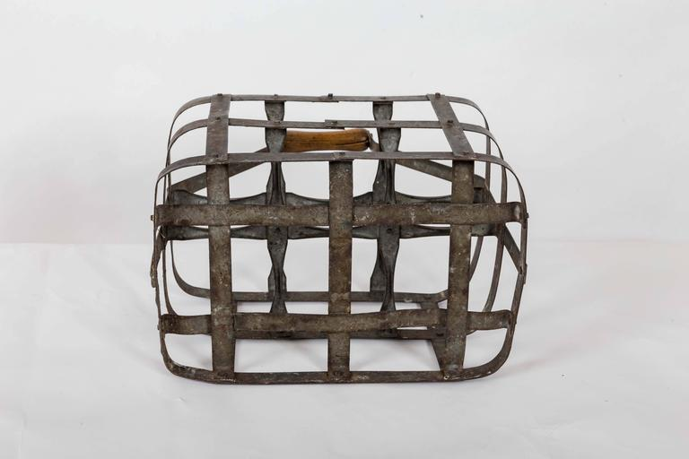 20th Century Turn-of-the-Century Metal Bottle Carrier, France, circa 1900 For Sale