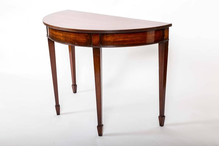 Pair of 19th Century Mahogany Demilune Tables, England, circa 1870 3