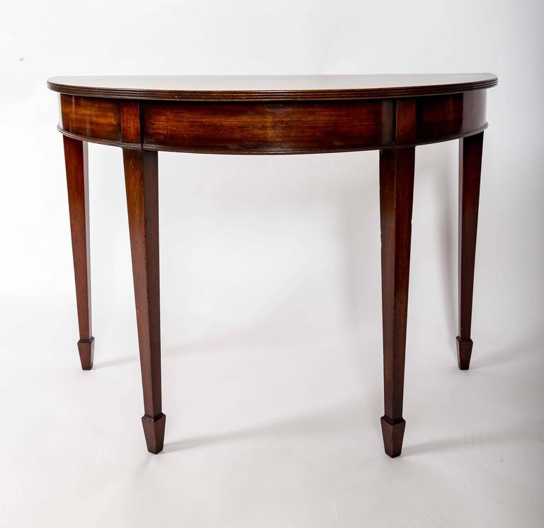Pair of 19th Century Mahogany Demilune Tables, England, circa 1870 4