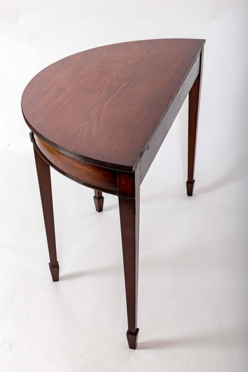 Pair of 19th Century Mahogany Demilune Tables, England, circa 1870 For Sale 1