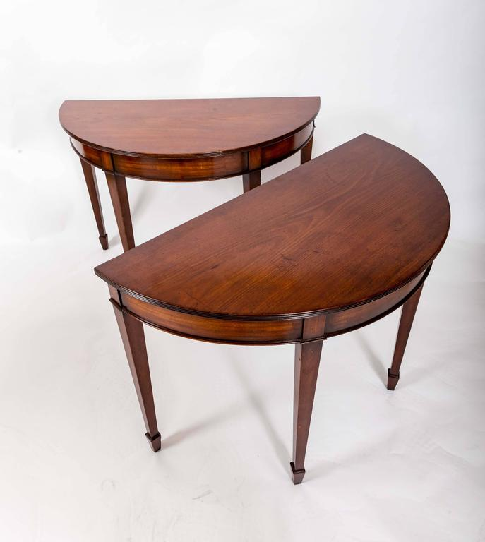 Pair of 19th Century Mahogany Demilune Tables, England, circa 1870 For Sale 3