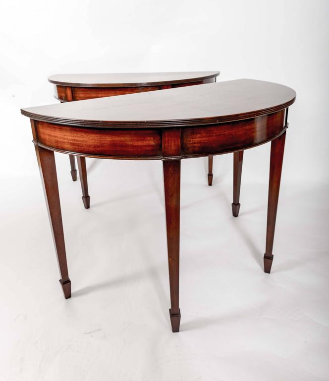 Pair of 19th Century Mahogany Demilune Tables, England, circa 1870 For Sale 4