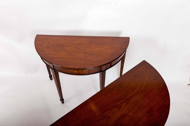 Pair of 19th Century Mahogany Demilune Tables, England, circa 1870 For Sale 5