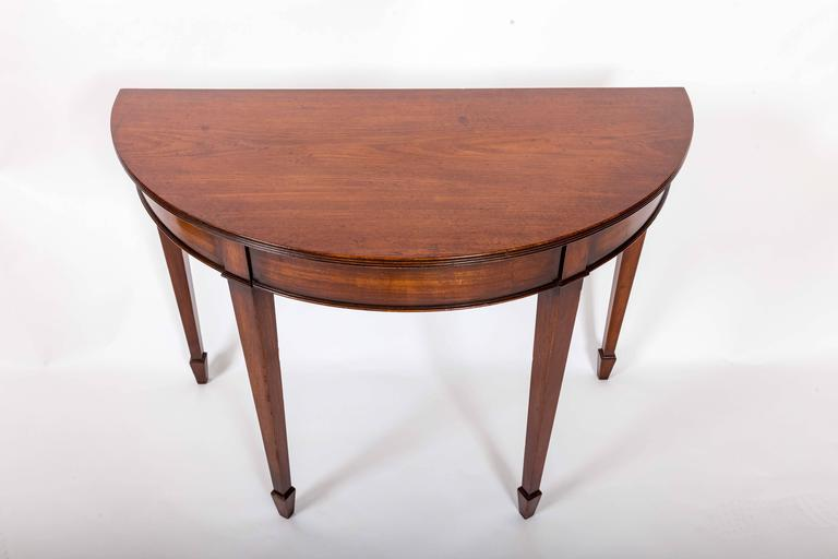 Pair of 19th Century Mahogany Demilune Tables, England, circa 1870 For Sale 6
