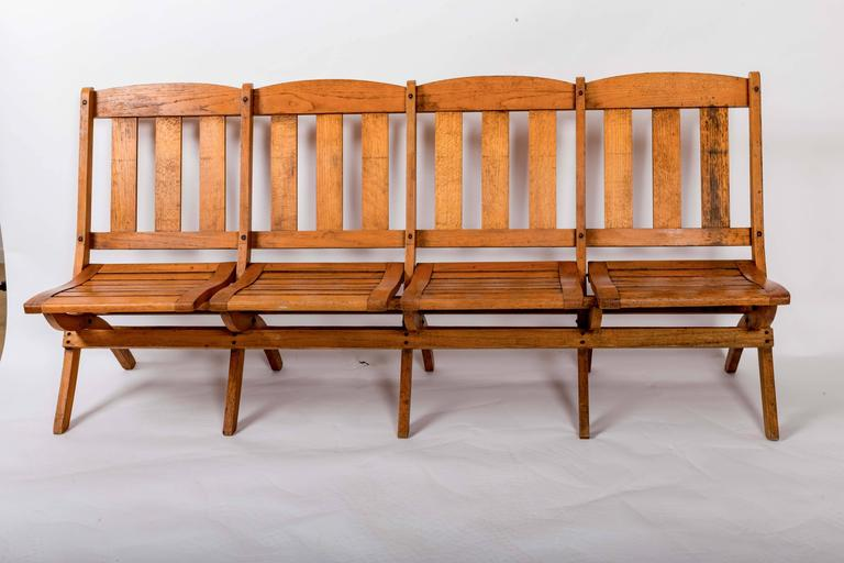 1920s Four-Seat Folding Railroad Bench, Capetown South Africa, circa 1920s In Good Condition For Sale In East Hampton, NY