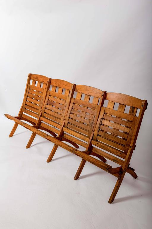 1920s Four-Seat Folding Railroad Bench, Capetown South Africa, circa 1920s For Sale 1