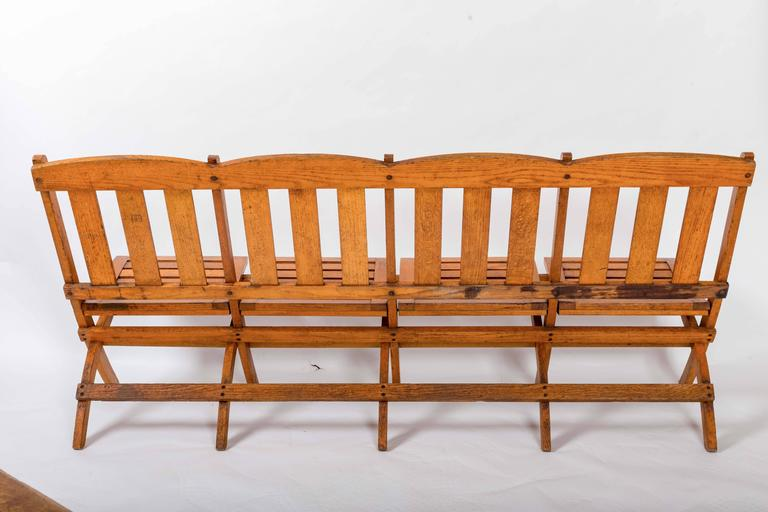1920s Four-Seat Folding Railroad Bench, Capetown South Africa, circa 1920s For Sale 5