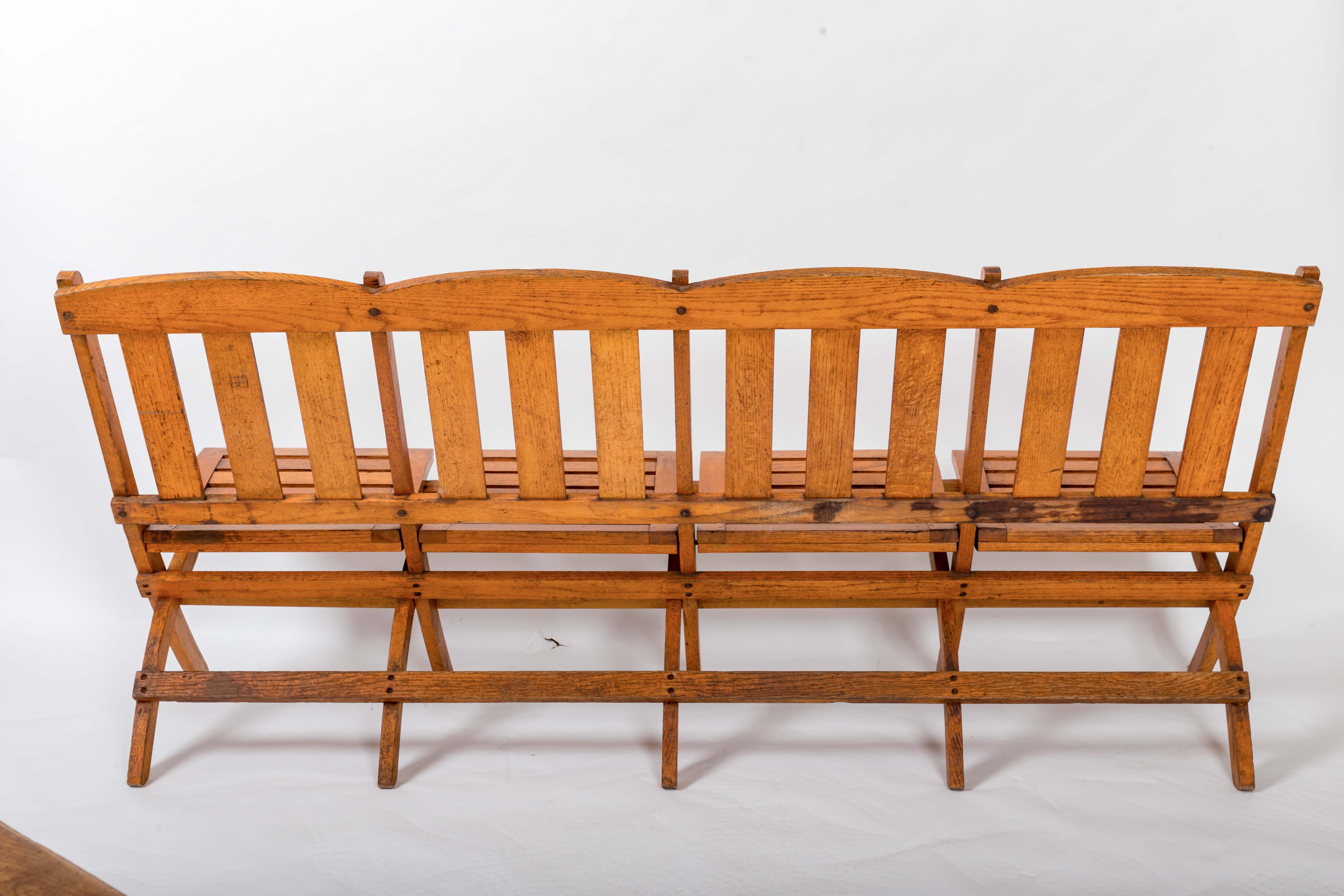 1920s Four-Seat Folding Railroad Bench, Capetown South Africa, circa 1920s  For Sale at 1stdibs