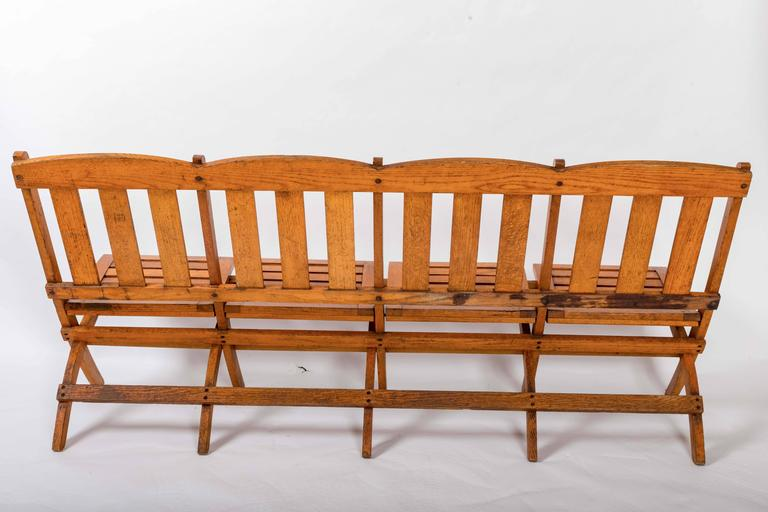 1920s Four-Seat Folding Railroad Bench, Capetown South Africa, circa 1920s For Sale 6