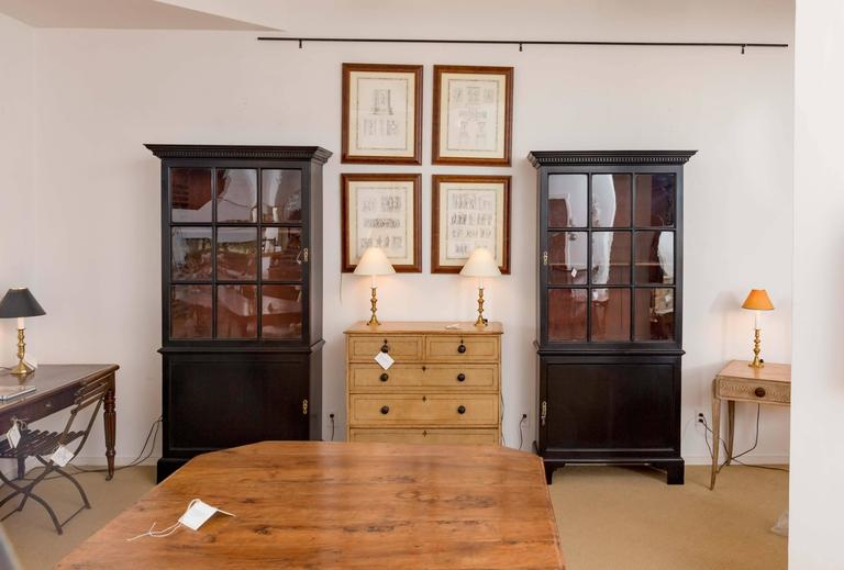 Pair of 18th Century Georgian Ebonized Bookcases, England, circa 1780-1790 5
