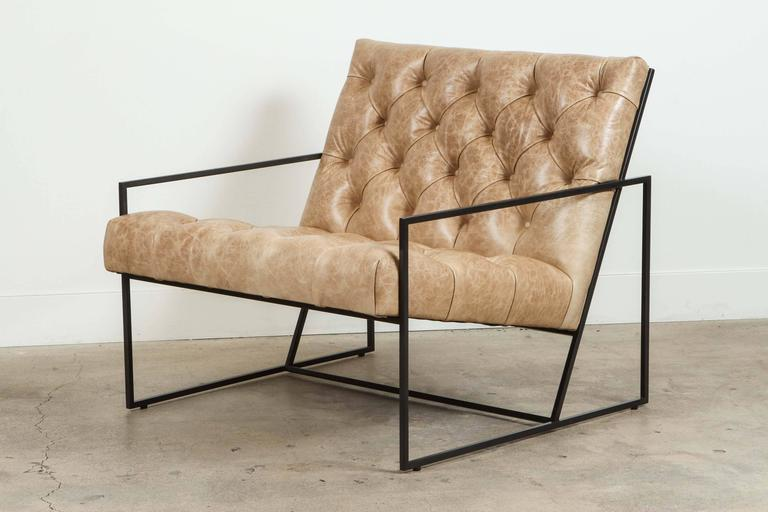 Mid-Century Modern Pair of Tufted Thin Frame Lounge Chair by Lawson-Fenning For Sale
