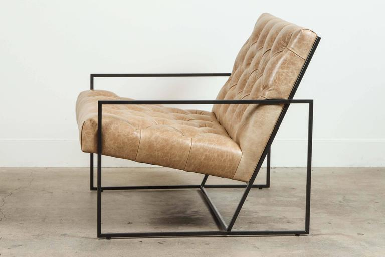 American Pair of Tufted Thin Frame Lounge Chair by Lawson-Fenning For Sale