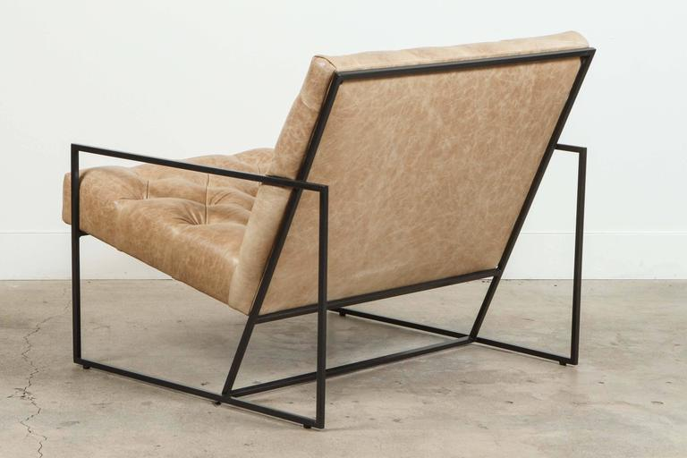 Pair of Tufted Thin Frame Lounge Chair by Lawson-Fenning In Excellent Condition For Sale In Los Angeles, CA