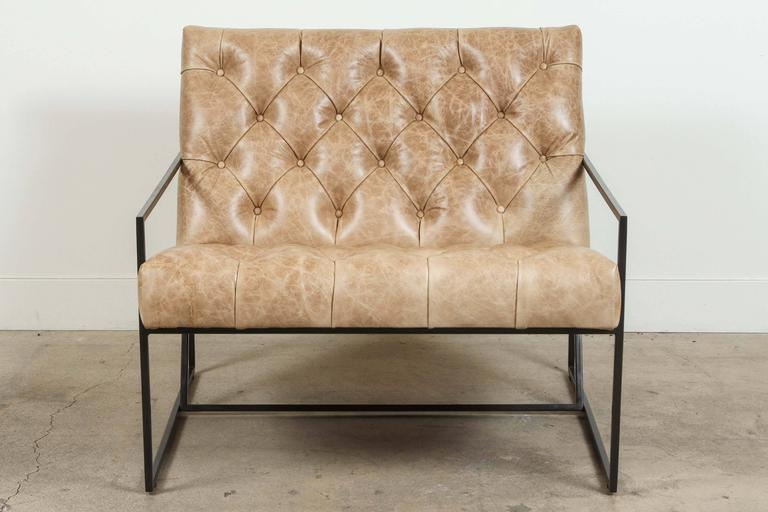 Contemporary Pair of Tufted Thin Frame Lounge Chair by Lawson-Fenning For Sale