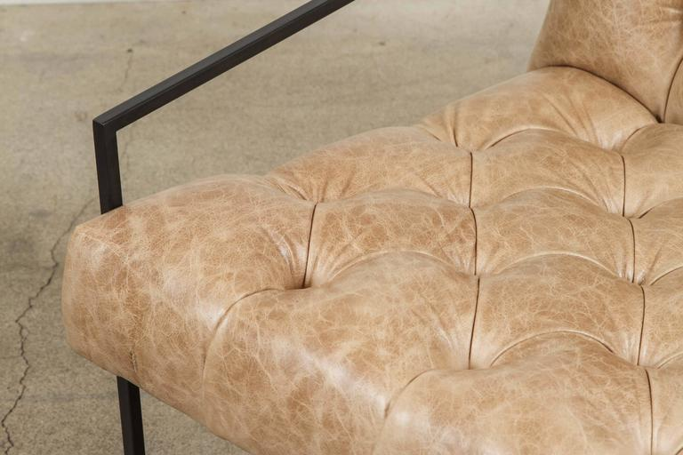 Pair of Tufted Thin Frame Lounge Chair by Lawson-Fenning For Sale 2
