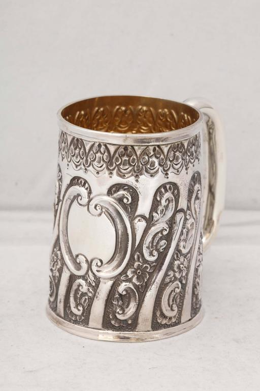 Victorian, sterling silver baby cup, Birmingham, England, 1892, Hayes Bros. (William and Harry Hayes) - makers. Lovely, swirled design. Gilded interior; vacant cartouche. @3