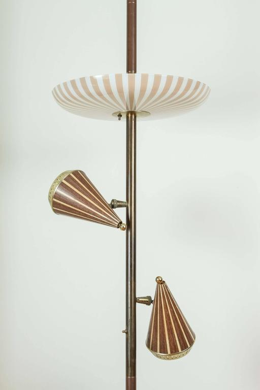 Vintage Mid Century Lamp From The 1950s Consists Of A Large Glass Plate On  Top