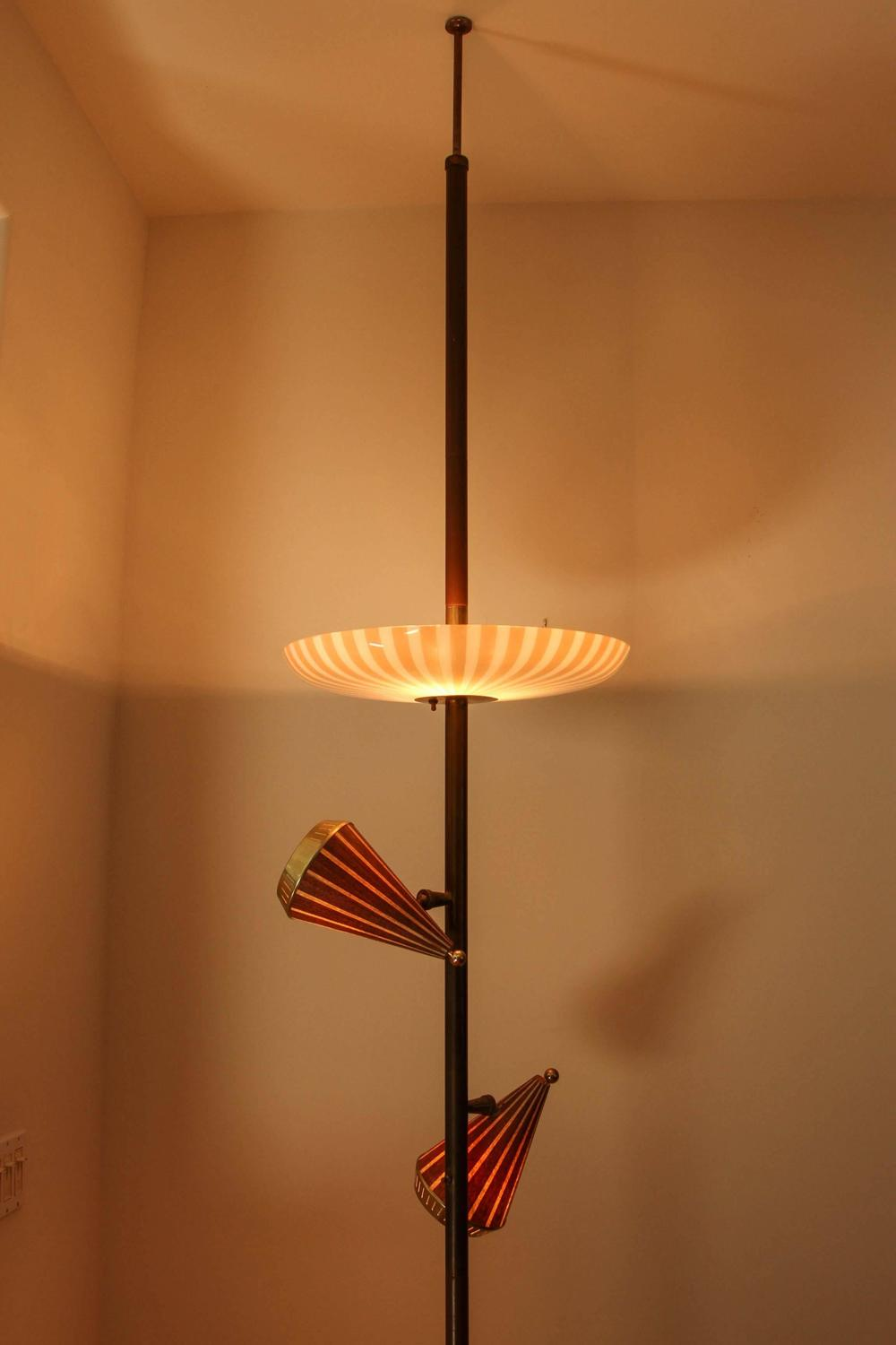 1950s Adjustable Three Shade Stiffel Extension Pole Lamp